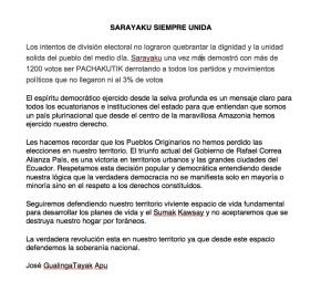 Pronunciamiento de la comunidad de Sarayaku luego de las elecciones del 17 defebrero.